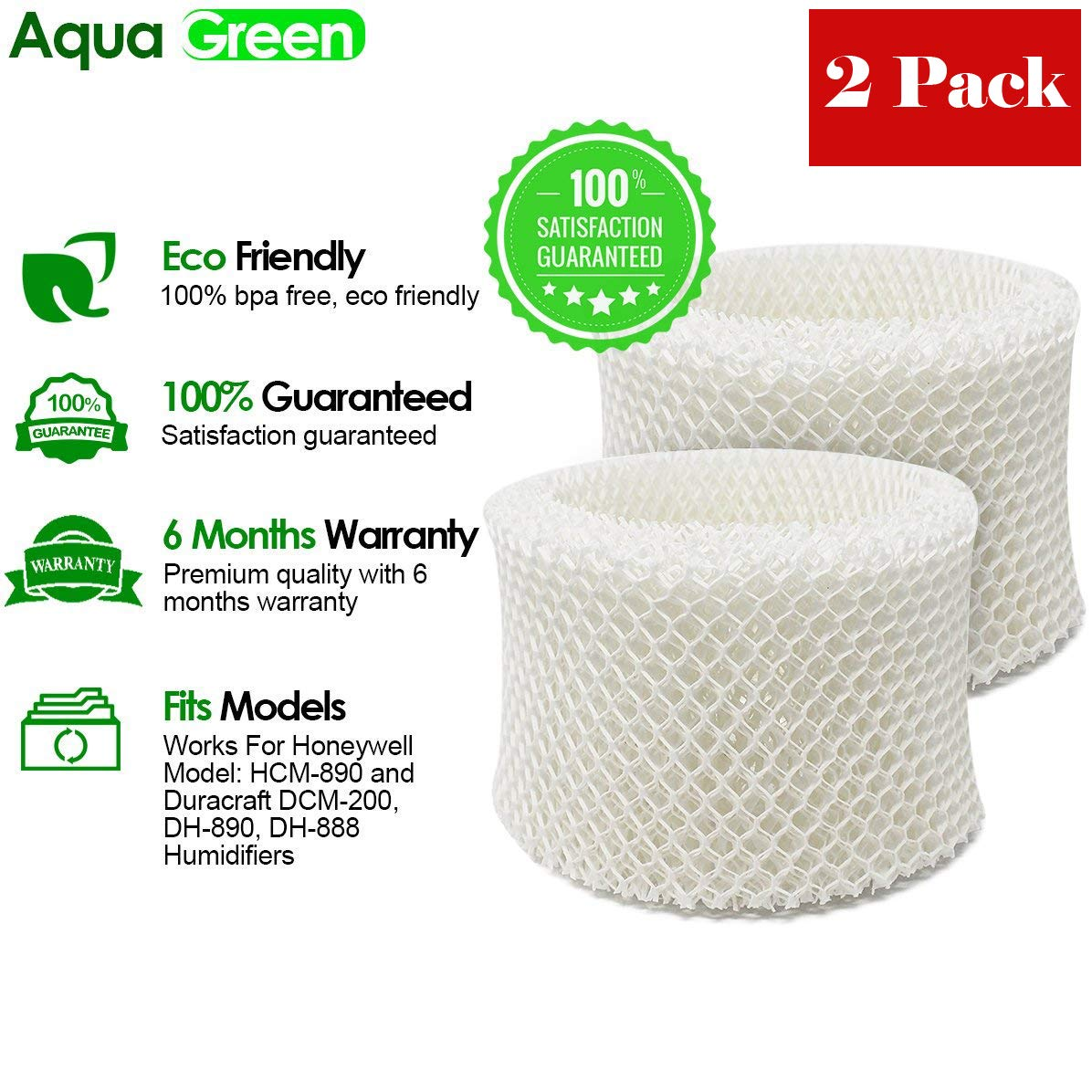 AQUA GREEN HC-888N Filter Compatible With Honeywell HC-888, HC-888N Filter - 2-pack