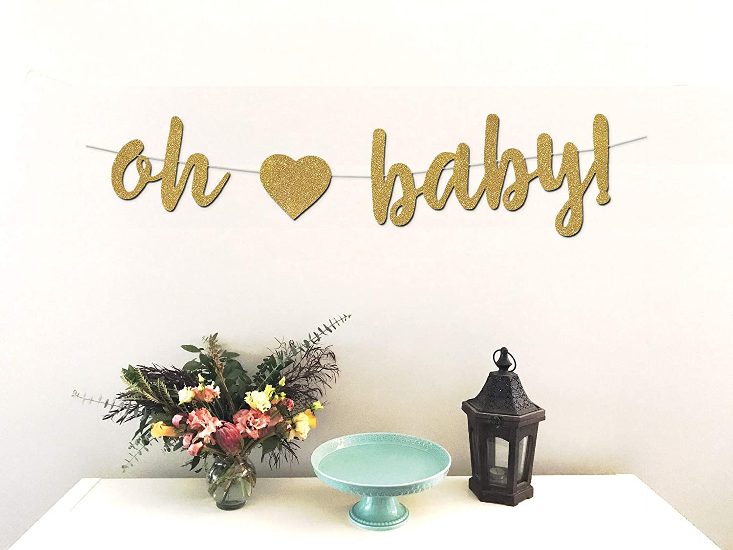 Oh Baby Banner - Perfect Decoration for Girl Baby Showers - Beautiful Sparkling Pink Glitter Cardstock - Larger Text for Better Visibility Honey Paper Co