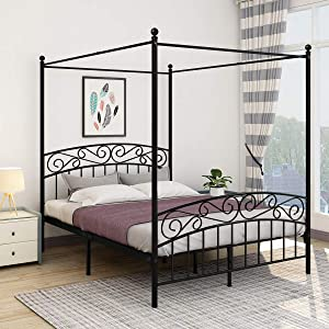JURMERRY Metal Canopy Bed Frame with Ornate European Style Headboard & Footboard Sturdy Steel Easy DIY Assembly All Parts Included,Queen Black