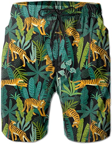 Mens Swim Trunks Tiger Jungle Quick Dry Beach Board Shorts with Mesh Lining