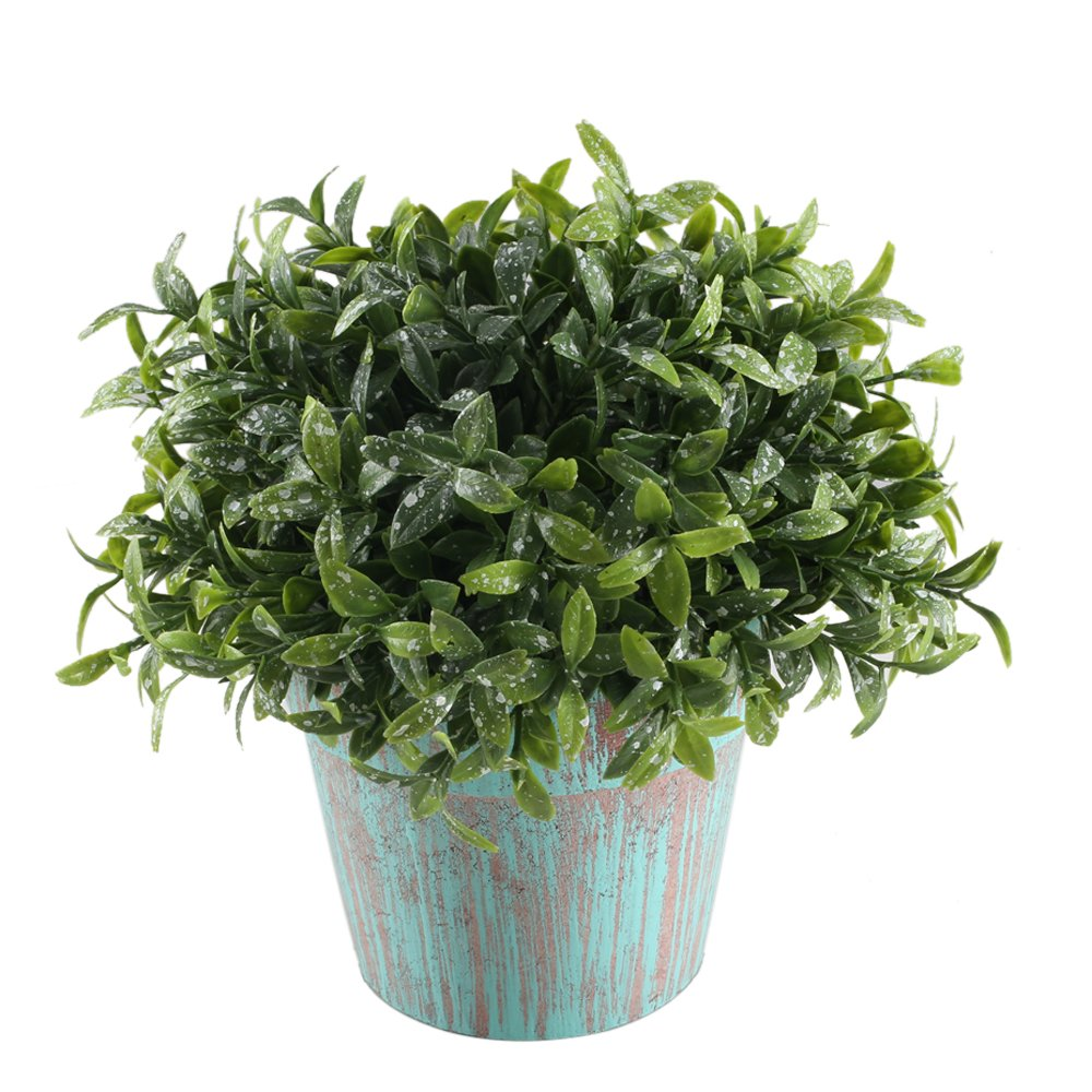 GTIDEA Fake Potted Plants Artificial Topiaries Greenery Bonsai Faux Plastic House Plants for Bathroom Home Kitchen Office Bookshelf Garden Feng Shui Decor in Vintage Wooden Pot by GTIDEA (Image #1)