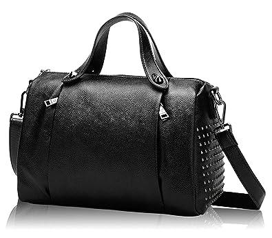 8b6eedf7e15 Mn Sue Women s Medium Doctor Style Rivet Studded Genuine Leather Top Handle  Barrel Purse Boston Handbag (