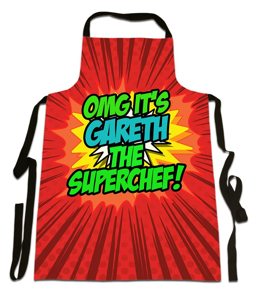OMG It's Gareth The Superchef!', Personalised Name, Funny Comic Art Style Design, Canvas Apron,, Size 25in x 35in approximately Fresh Publishing Ltd