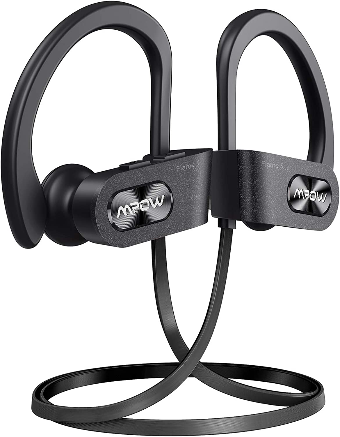 Mpow Flame S Bluetooth Headphones Sports, aptX-HD Bass+ Loud Sound, Bluetooth 5.0 Sport Headphones Running Earbuds W/12H Playtime, IPX7 Waterproof, cVc8.0 Noise Cancelling Mic W/Carrying Case, Black