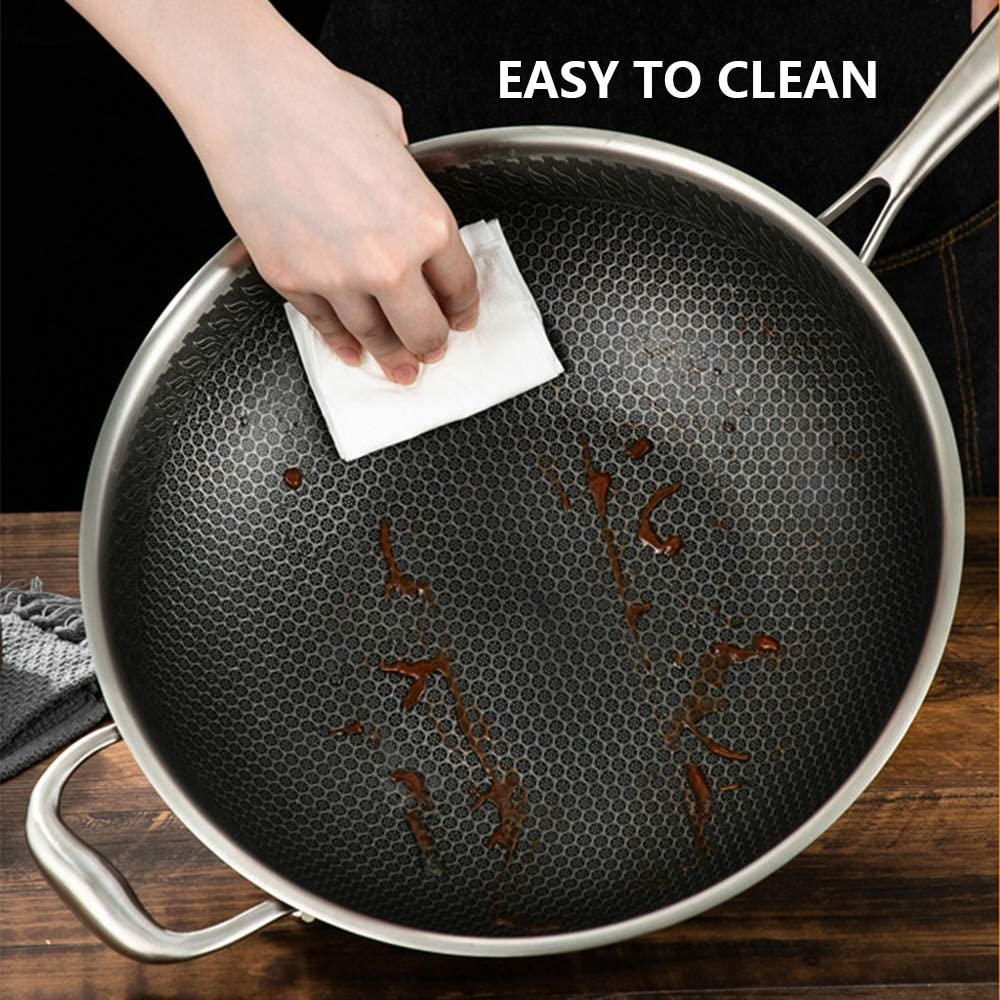 Electric /& Induction Stainless Steel Honeycomb Wok Dishwasher Safe 13.4 Non-Stick Stir Fry Pan with Ear for Gas Scratch Resistant