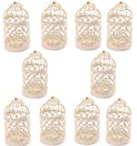 Metal Tealight Hollow Candle Holder Hanging Lanterns Creative Home Centerpiece Bridal Wedding Xmas Party Decor Birdcage White( 3.1x 5.5 Inch ) ,10pcs