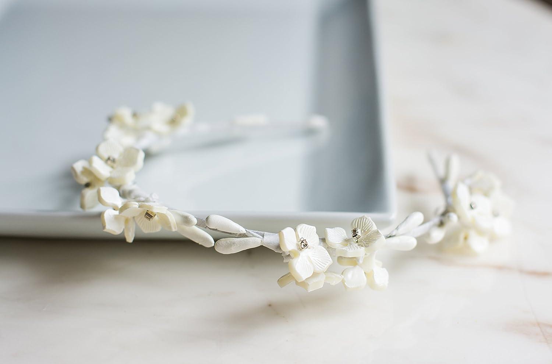 Amazon.com: Handmade Simple Bridal Floral Headband Minimalist Flower ...