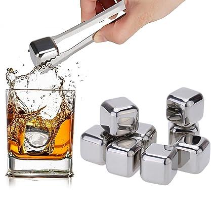 SIMBR piedras para Whisky Glacons En Acero Inoxidable – Juego de 8 ICE CUBE plateado reutilizable