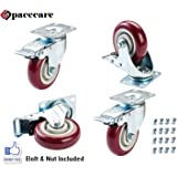 "SPACECARE 4 Pack of 4"" Swivel Caster Polyurethane Wheels Base with Brake Top Plate & Double Ball Bearing 300lb Each (4)"