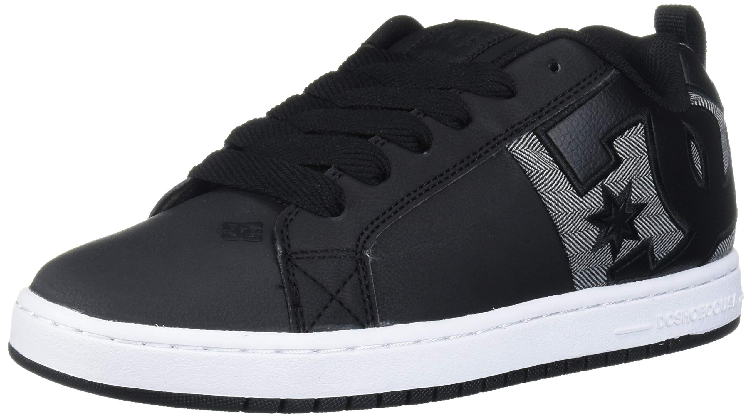 DC Men's Court Graffik SQ Skate Shoe, Black/Heather Grey, 11 D M US by DC