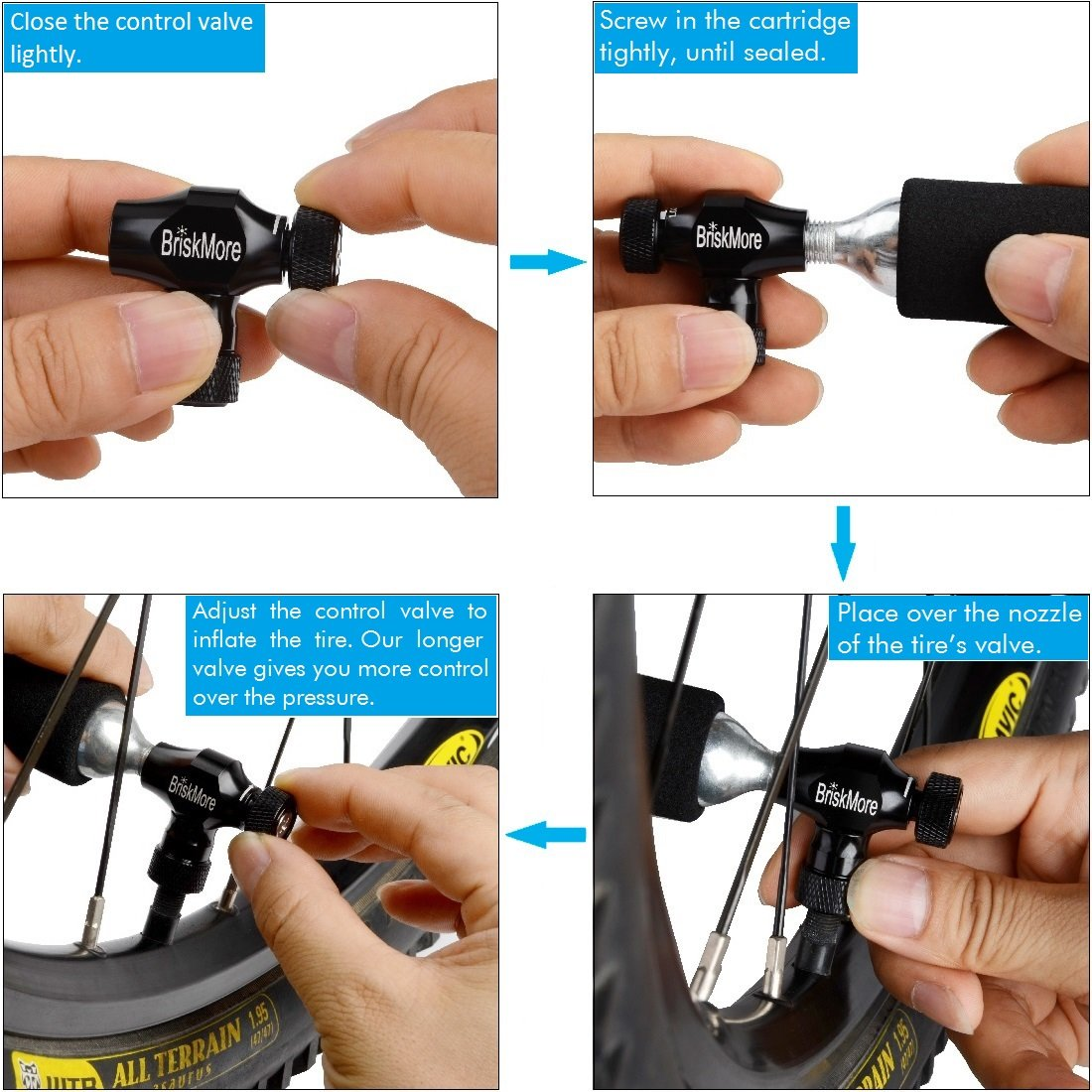Presta and Schrader Valve Compatible Black CO2 Inflator for Bikes Tire By BriskMore CO2 Bike Cartridge NOT Included Ease To Use//Quick Insulated Sleeve Bike Tire Pump for Mountain and Road Bicycles