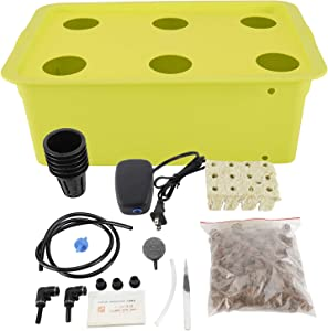 HighFree Hydroponic System Growing Kit for Plants Herb Garden Starter Set DIY Self Watering Indoor Hydroponics Tools with Large Bubble Stone Rockwool Bucket Air Pump (6 Sites)