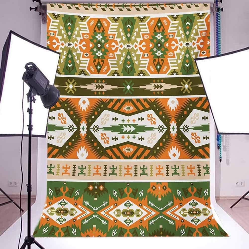 Tribal 10x12 FT Photo Backdrops,Vector Design with Tattoo Aztec Mayan Culture Style Stripes Shapes Print Background for Kid Baby Boy Girl Artistic Portrait Photo Shoot Studio Props Video Drape Vinyl