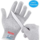 Cut Resistant Gloves, Safety Kitchen Cutting Gloves, Knife Proof Glove for Mandolin Slicing, Wood Carving, Fish Processing and Meat Cutting, EN388 CertifiedFood Grade Level 5 Protection (Medium)