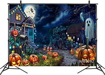 Halloween Photo Backdrop Funny Ghost Vinyl Family Party Banner Booth Props Banner Studio Props Party Decorations 7X5Ft Background for Halloween