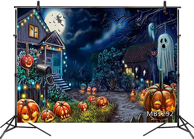 LB 7x5ft Halloween Themed Backdrop for Photography Luminous Pumpkin Background for Photoshoot Full Moon and Vintage Vampire Castle Background Decorations for Banner Photo Booth