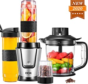 DEIK Personal Smoothie Blender Mixer, 500W 5 in 1 High-Speed Countertop Blender Single Food Bullet Blender/Chopper/Grinder for Milkshake, Fruit Vegetable Drinks, Mini Blender Maker with Travel Bottle