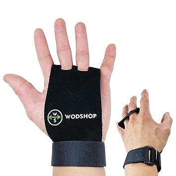 wodshop piel auténtica mano Grips para crossfit WODs, dominadas, gimnasia, levantamiento de peso
