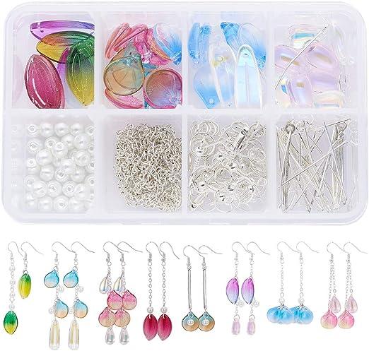 60pcs Acrylic Transparent AB Color Leaf  Handmade Beads Jewelry Material DIY