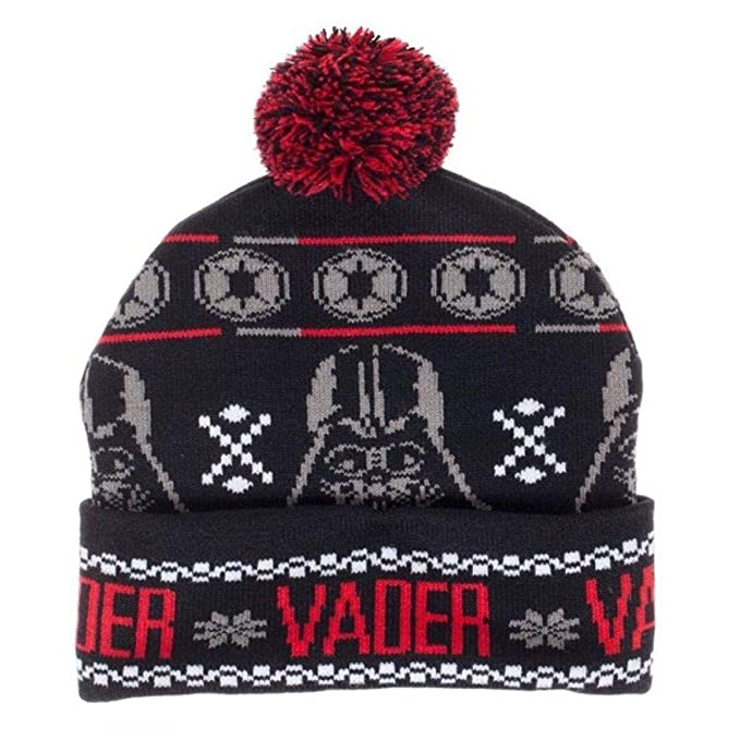 48fa916dc95 Image Unavailable. Image not available for. Color  Bioworld Star Wars Darth  Vader Fairisle Pom Beanie Winter Hat ...