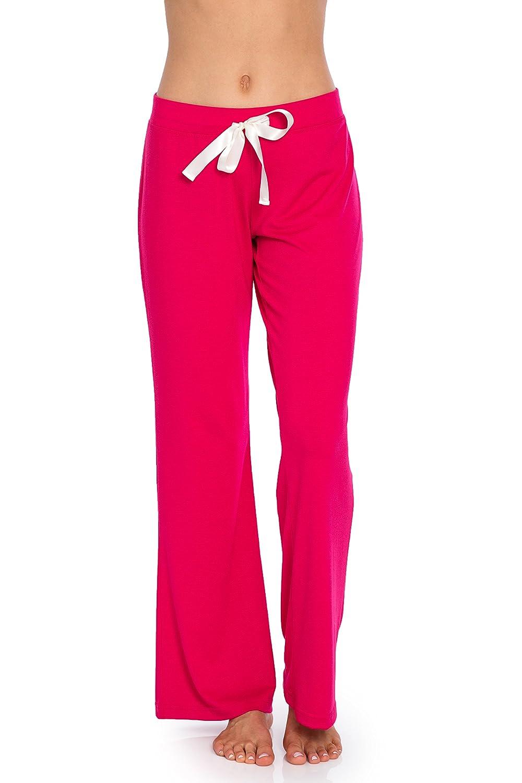 Dark Pink VDRNY Comfy Stretch Solid Flared Pajama Pants for Women Pajamas Sleepwear