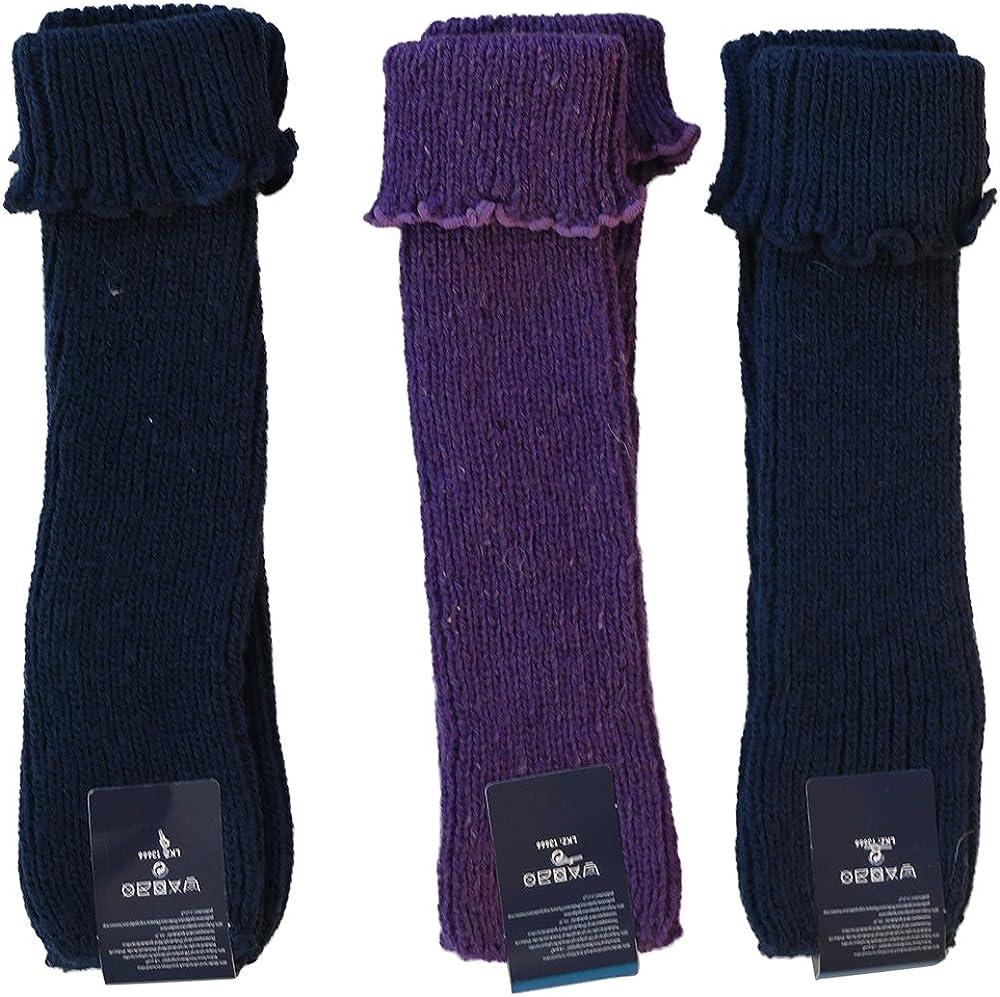 Gesundheitsstrumpf 3 Paar Legwarmer Stulpen mit feiner Wolle Blau Lila Petrol