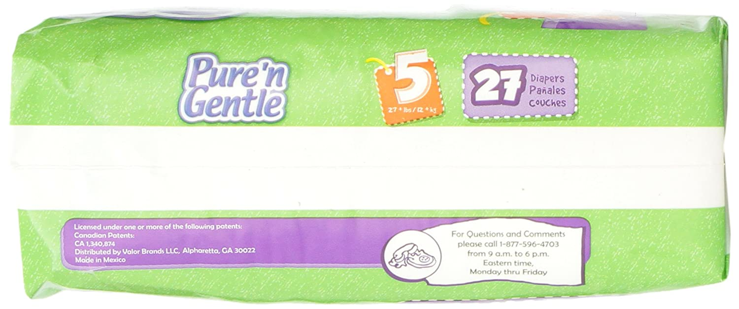 Amazon.com: Pure n Gentle Ultra Diapers with Stretch Hook & Loop Closure System, Extra Large Size 5, Over 27 Pounds, 27 Count Pack Bag (Pack of 4): Health ...