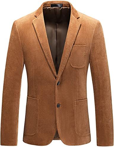Mens Blazers Jacket One Button Corduroy Coat Slim Fit Casual Lapel Party Formal