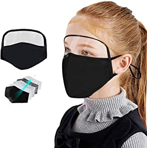 BeAcient Dust Mask Kids with Transparent Eye Shield, Unisex Breathable Anti Haze Fog Safety Face Mouth Mask Suitable for Public Areas (1PC Black)