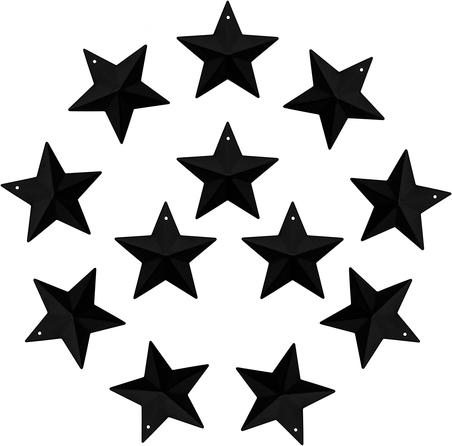 CVHOMEDECO. Country Rustic Primitive Vintage Gifts Black Small Metal Barn Star Wall/Door Decor, 2-1/4 Inch, Set of 12.