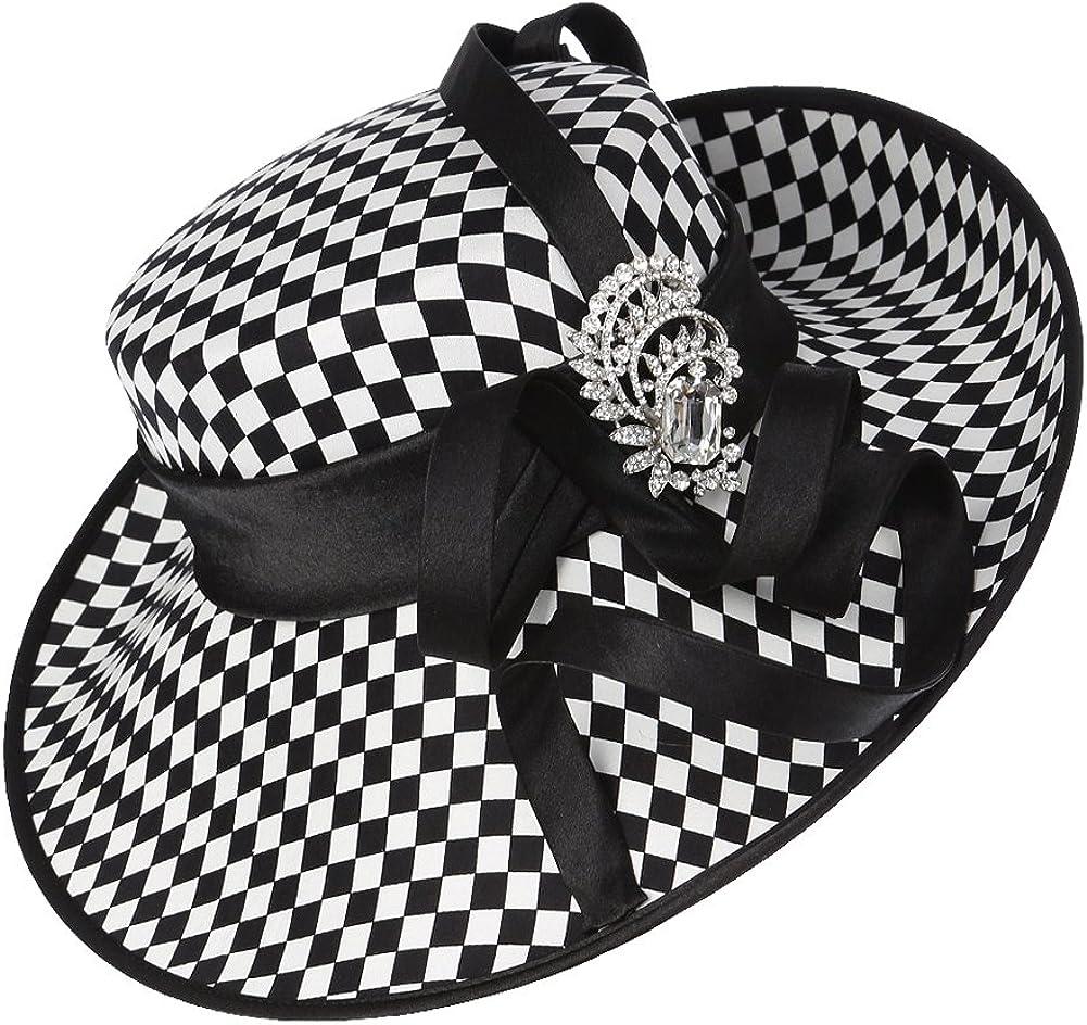 JUNES YOUNG Ladies Satin Dress Hat Church Hat Formal Hat for Women Black Hat