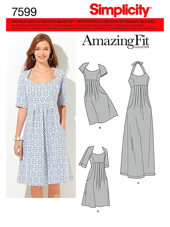 Simplicity Schnittmuster 7599 BB Damen Kleid,Habiller in 3 ...