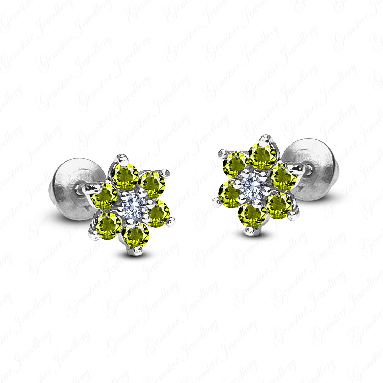 Gemstar Jewellery 18K White Gold Finishing Round Green Peridot Wedding Cluster Flower Stud Earrings