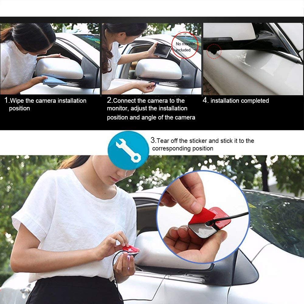 OBEST Car Blind Spot Side View Camera Kit Infrared LEDs Night Vision Without Guide Line Waterproof Black Mirror//Non-Mirror Image Available with Switcher Cable