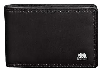 b405af129902a Brown Bear Mini Herren Geldbörse Leder Schwarz mit RFID Schutz klein und  flach Doppelnaht