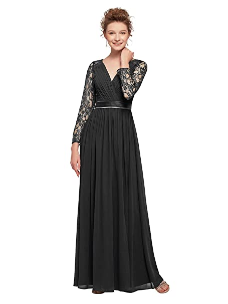 AW Mother of The Bride Dresses Plus Size Long Sleeves Chiffon Prom Formal  Dress V-Neck Lace Maxi Evening Dress