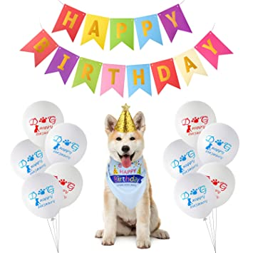 TUPARKA Dog Birthday Party Supplies Includes Bandana Hat Happy