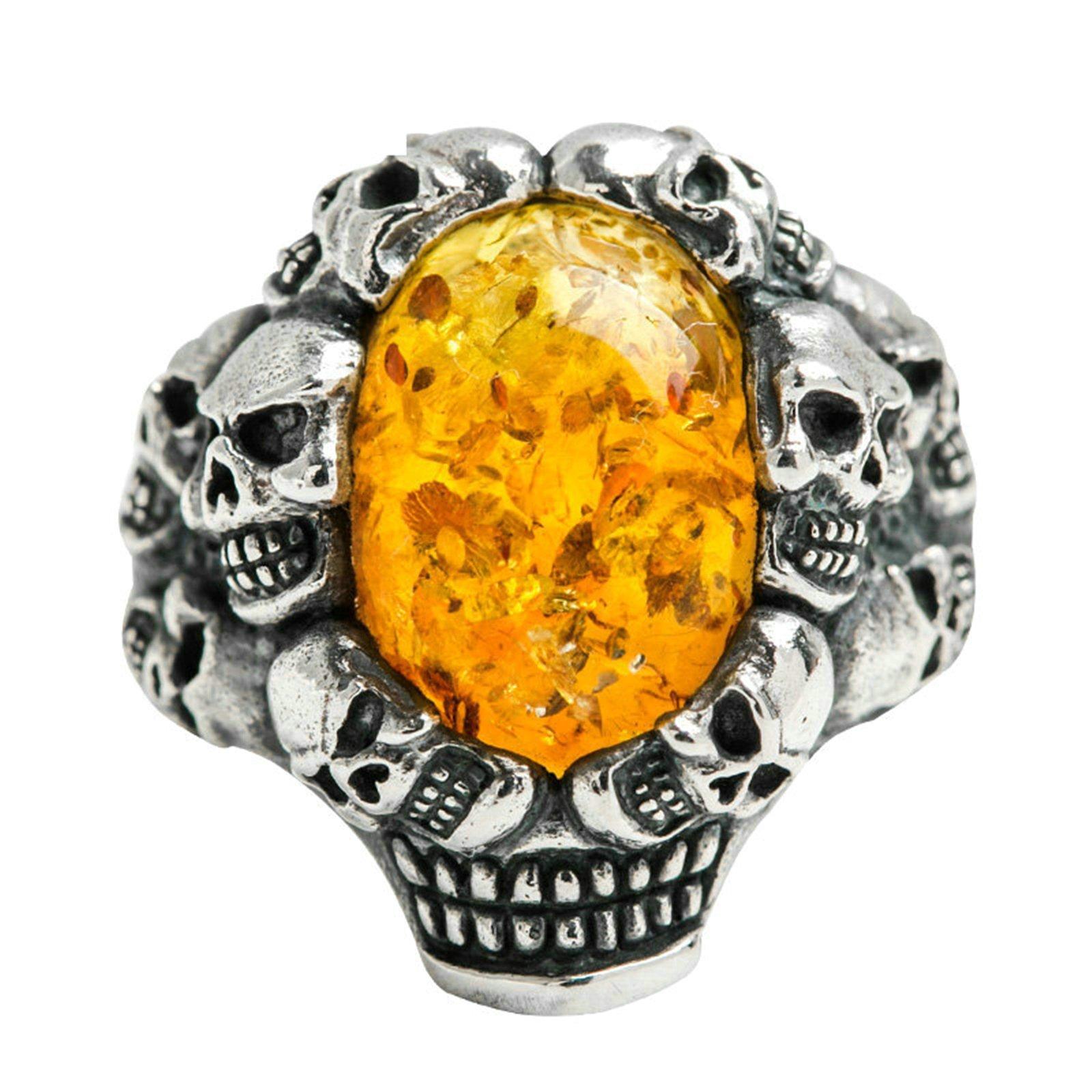 Adisaer Biker Rings Silver Ring for Men Skull Amber Ring Size 10.5 Vintage Punk Jewelry