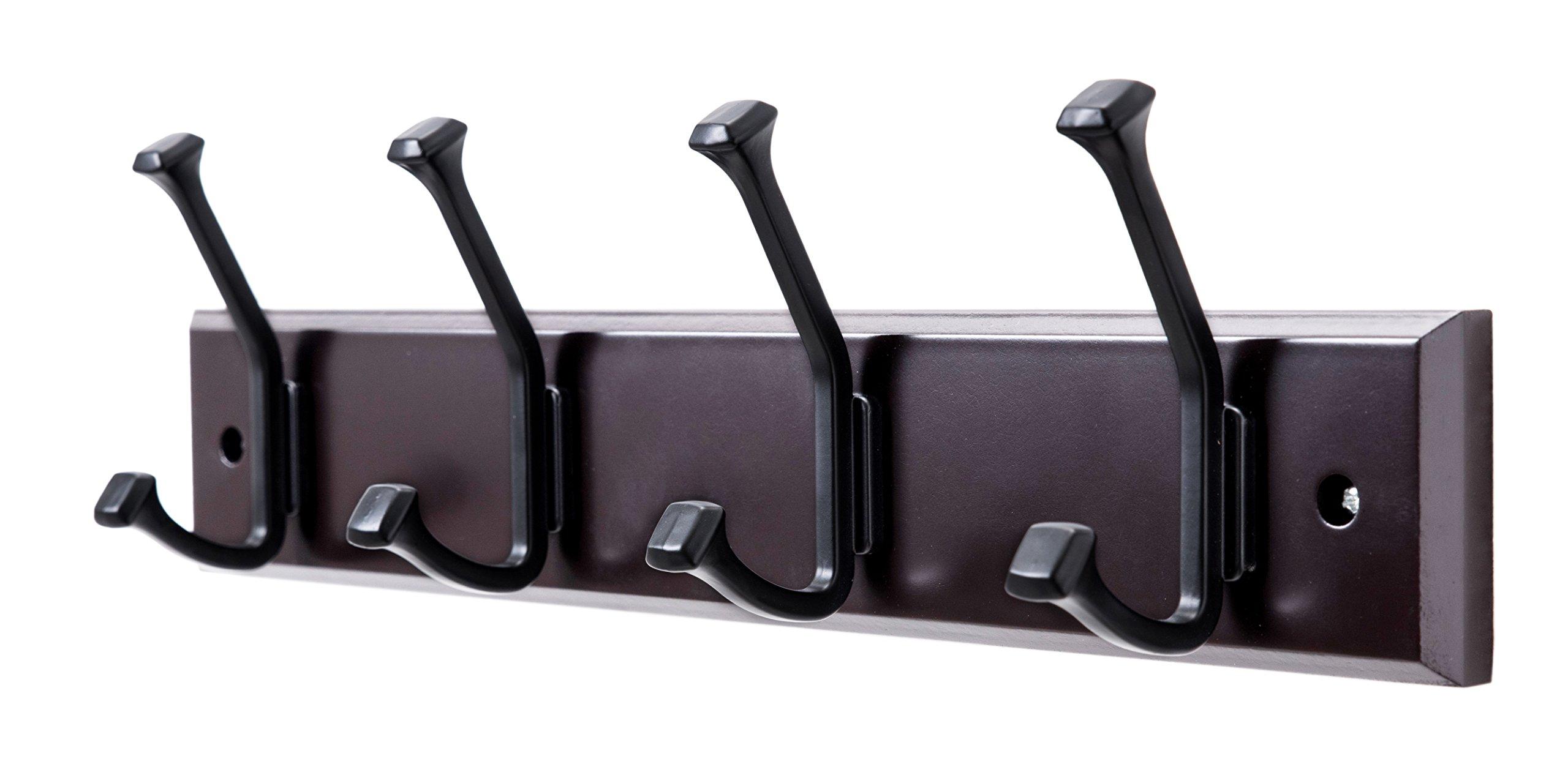Finnhomy Wooden Coat Hooks Wall Hooks 4 Dual Hooks 16-Inch Rail/Pilltop Rack Long Coat Rack for Clothes Entryway Foyer Storage Organization Bathroom Towel Key Accessory Espresso/Black Hook