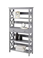 Convenience Concepts 203051GY Oxford 5-Tier Bookcase with Drawer, Gray