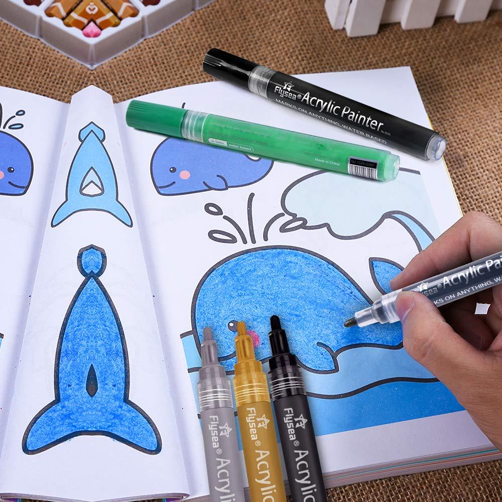 Acrylic Paint Pens Scrapbook Pens Premium Permanent Water Based Medium Tip Marker Pens for Scrapbooking Crafts, DIY Photo Album, Art Rock Painting, Card Making, Metal and Ceramics, Glass - 12pcs