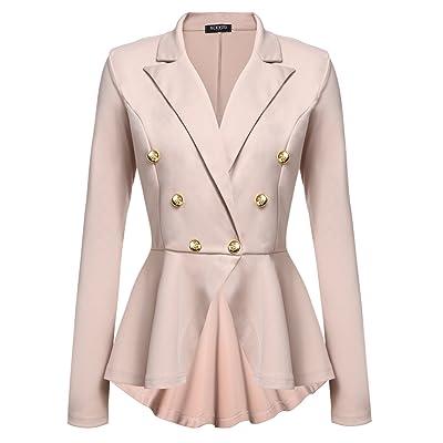 ACEVOG Women's Casual Botton Blazer Jacket Khaki S at Amazon Women's Clothing store