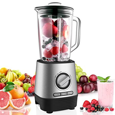 Professional Countertop Blender, Household Blender Food Processor with 1500 Milliliter Glass Jar, Preset Functions and Variable Speed Control for Smoothies, Shakes and Frozen Drinks, 1450W