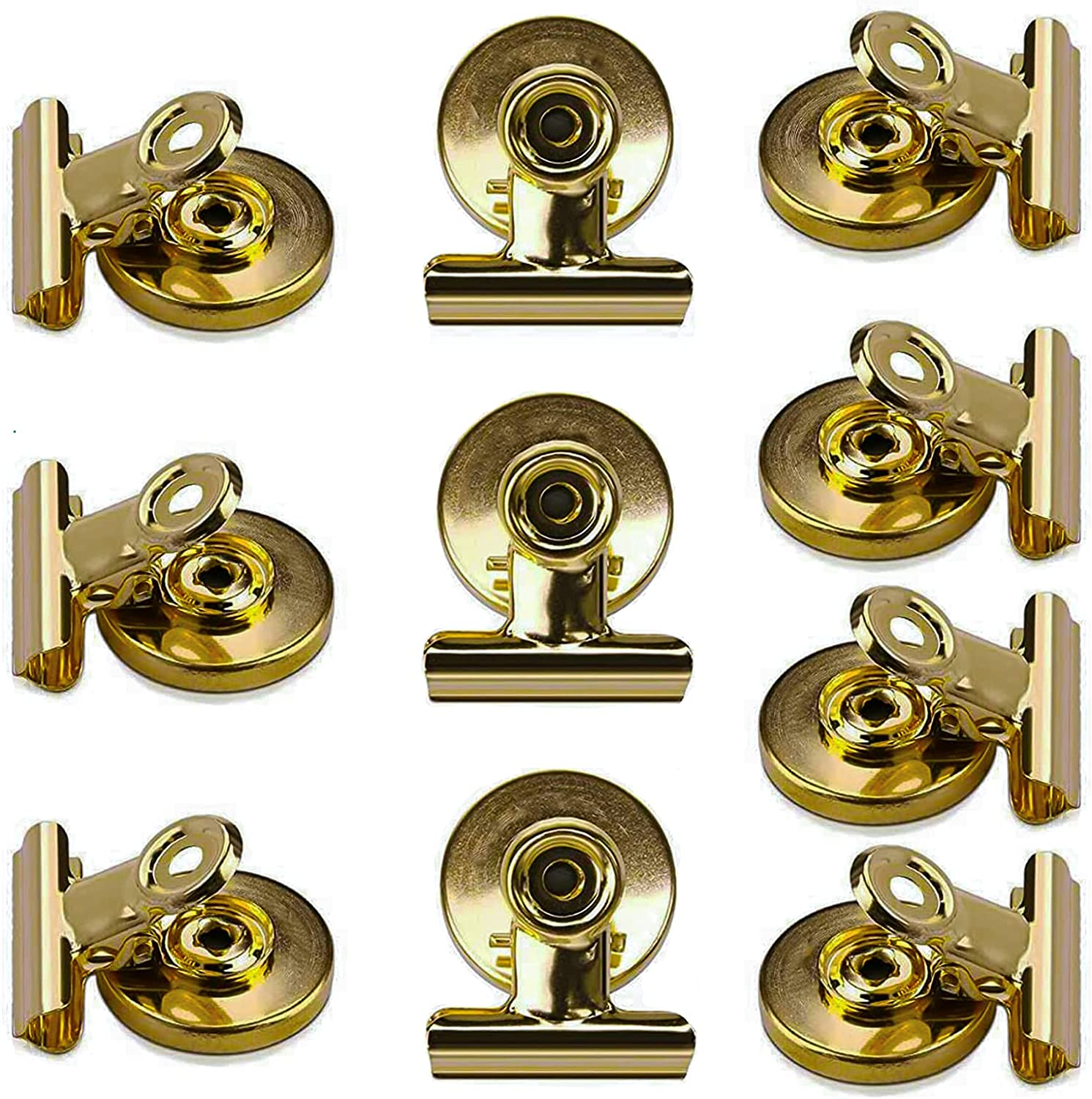 10 Pack Magnetic Clips, Heavy Duty Refrigerator Magnet Clips, Refrigerator Magnetic Metal Clips for Office, Classroom and Whiteboard to Display Photos Lists, Calendars and Crafts (1.5Inch Wide, Gold)
