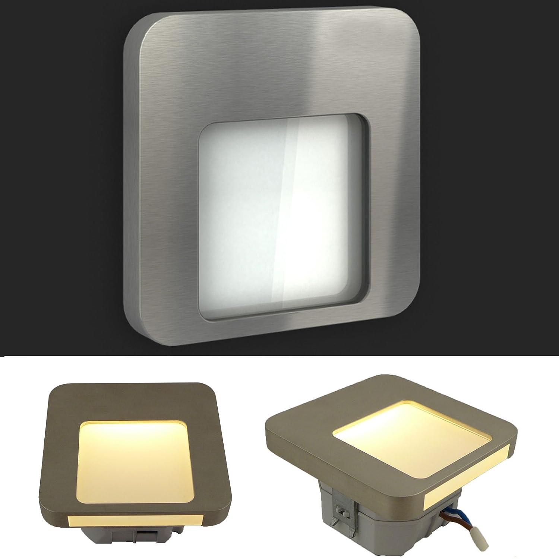 LEDIX LED Einbauleuchte MOZA Edelstahl gebürstet (2er bis 9er Set). 230V Treppenbeleuchtung ohne Bewegungsmelder. Lichtfarbe  warmweiss. Wandleuchte Treppenlicht. Passend für Ø 60 mm Unterputz Einbaudose (Installationsdose). (