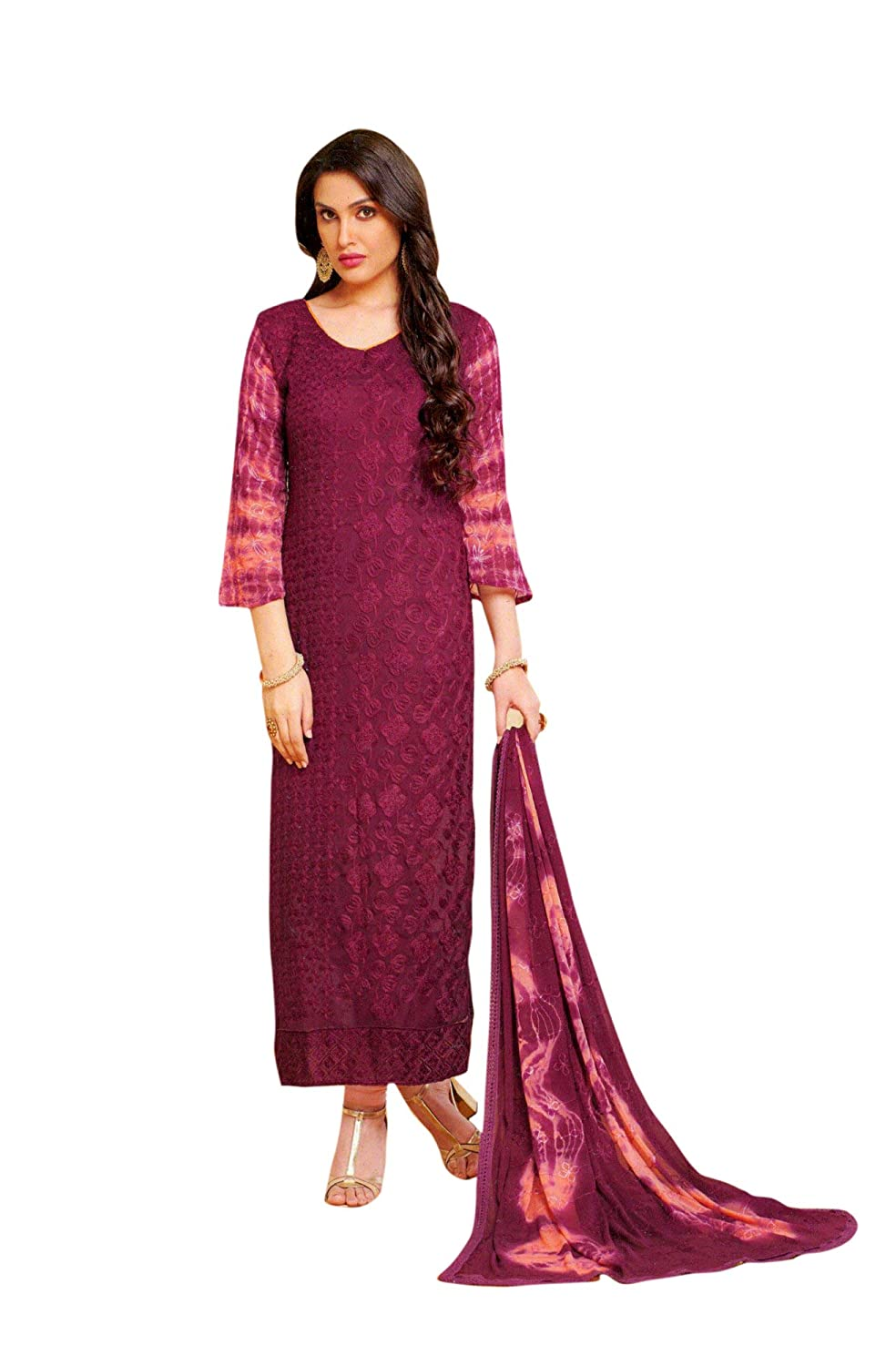 36906fee5028 Ladyline Womens Partywear Long Salwar Kameez Chiffon Karachi Embroidered at  Amazon Women's Clothing store:
