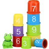 Stacking Cups Early Educational Toddlers Toy Bathtub Toys with Numbers & Animals Game for Kids Baby 11 Pack (Classic).