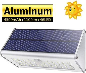 CAIYUE Luces solares al aire libre, 1100lm 46 LED 4500 mAh Luces de seguridad con sensor