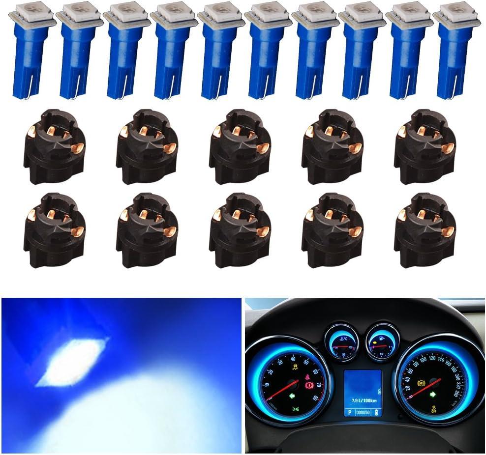 37 286 18 73 74 led Dashboard Gauge Light Bulbs 5050 Chip sets 1-SMD YITAMOTOR 10 Pack Blue T5 74 LED Wedge Dash Lights Bulb 12v with 10x Twist Lock Sockets