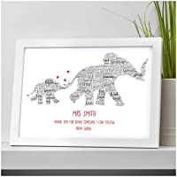 Thank You Teacher Gift Elephants Personalised TA, Nursery, School Leaving Gifts - Thank You Gifts for Teachers, Teaching Assistants - ANY RECIPIENT from ANY NAME - A5, A4 Prints and Frames